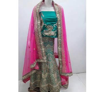 Indian Semi stitched Bridal Embroidery Art Silk Lehenga