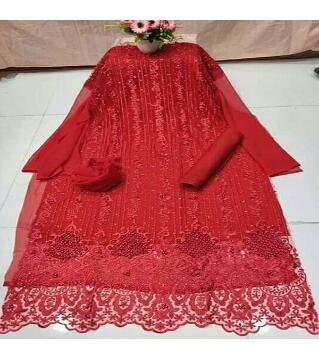 Unstitched Net 4 piece red colorrr