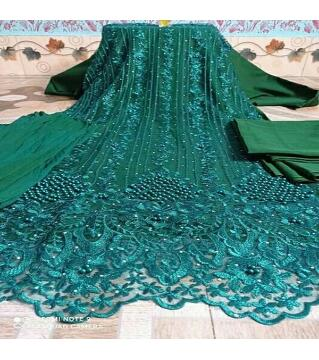 Unstitched Net 4 piece green colorrr