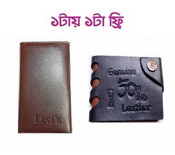 Artificial Leather Wallet ওয়ালেট ফর মেন+ARTIFICIAL LEATHER লেদার ওয়ালেট ফর মেন (Free)