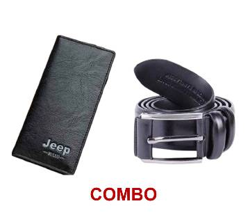 Jeep Artificial Leather Wallet FOR MEN + Artificial leather belt black for men Combo
