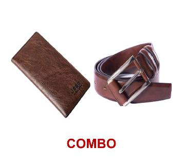 Jeep Artificial Leather Wallet FOR MEN + Artificial leather belt Brown for men Combo