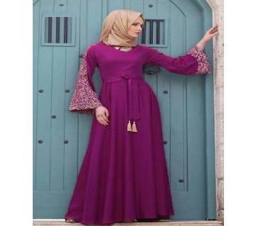 Magenta China linen Borka For Woman