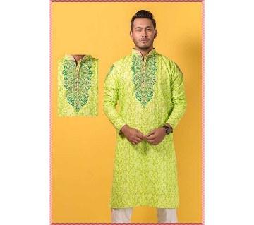 Gents semi long cotton printed punjabi