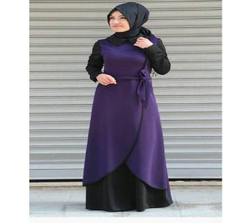 Black & Purple China Linen Borka For Women