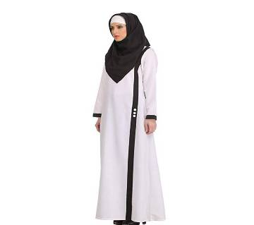 White & Black China Linen  Borka For Women
