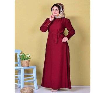 Maroon Stretch Jersey Borka For Women