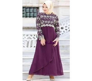 Purple Georgette Borka For Woman