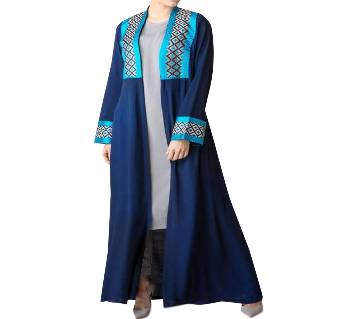 Navy Blue & Ash Georgette Borka For Women