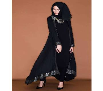 Black Georgette / China linen Borka For Woman