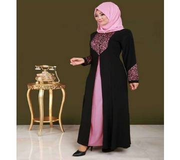 Black & Pink BMW/Shamu Silk Borka For Woman