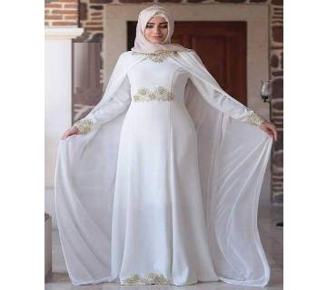 White Georgette  Borka For Women