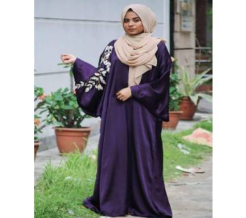 Purple Shamu Silk Borka For Women