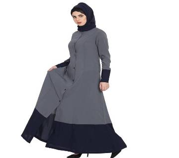 Gray & Blue Georgette Borka For Women