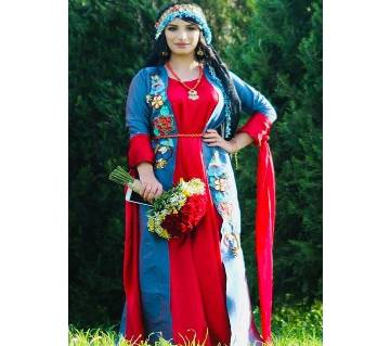 Blue & Red Georgette Borka For Women