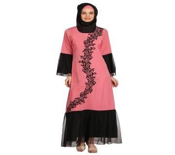 pink & Black Georgette Borka For Women