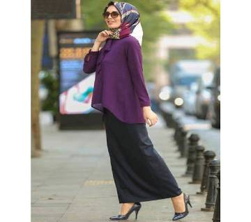 Purple & Black Georgette Borka For Women
