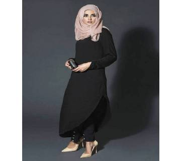 Black China Linen Borka For Woman