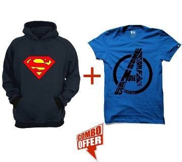 Superman-Org-Navy Blue-Mens-Hoodie + Gents Summer T-Shirt - Avengers Combo Offer