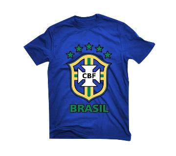 Brazil logo জেন্টস হাফ স্লিভ কটন টি-শার্ট