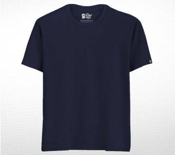 Navy Blue Solid Cotton T-shirt