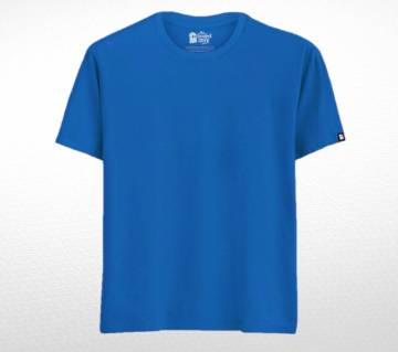 Blue Solid Cotton T-shirt