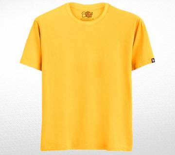 Yellow Solid Cotton T-shirt