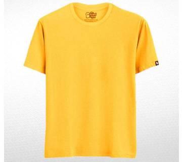 Yellow Solid জেন্টস হাফ স্লিভ কটন টি-শার্ট