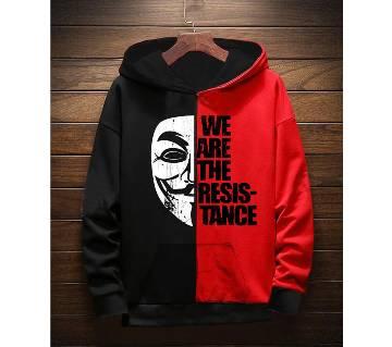 We are resistance-মেনস হুডি -Black and red