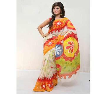 Cotton kota handprint Saree
