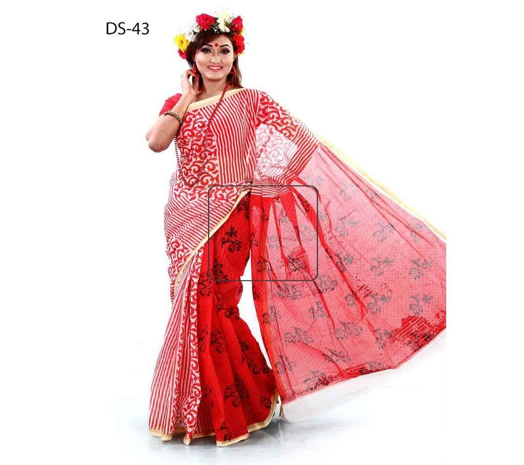 কটন কোটা হ্যান্ড প্রিন্ট শাড়ি বাংলাদেশ - 942827