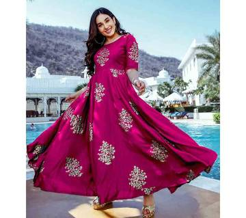 Unstitched Cotton Gown For Women