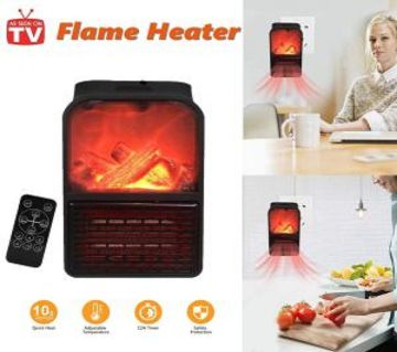 MINI 900 W ELECTRIC WALL-OUTLET FLAME HEATER
