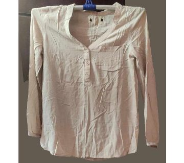 Soft Georgette And linen ladies Tops-Pink