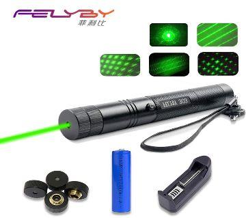 10 Miles 532nm Adjustable Focus Green Laser Pointer Beam Light Pen +Star Cap 5mw