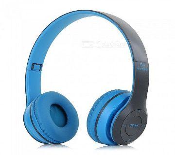 Wireless Bluetooth Headphone P47 Stereo Earphone with SD Card Slot - Blue