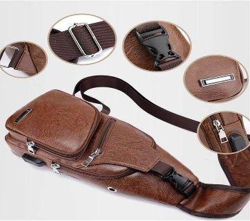 Unisex Crossbody  Backpack [ Brown ]