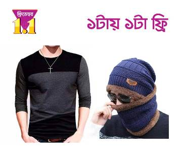 Menz full sleeve cotton t-shirt+Winter Cap For Man and Woman Color Random