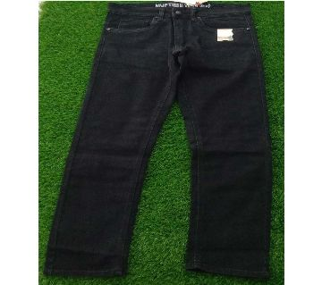 Solid Black Denim Pant For Men
