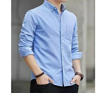 New Fashionable Trendy Cotton Oxford Long Sleeve Formal Shirt For Men