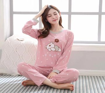 Long Sleeve Night Gown for Woman cartoon type baby bear with Pajamas (Type A)