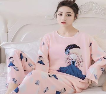 Long Sleeve Night Gown for Woman cartoon Pattern girl with Pajamas (Type D).