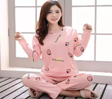 Long Sleeve Night Gown for Woman Strawberry fruits printed with Pajamas (Type F).