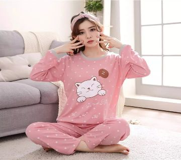 Long Sleeve Night Gown for Woman smiling cartoon Kitty cat with Pajamas (Type G).