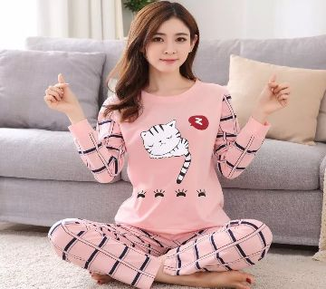Long Sleeve Night Gown for Woman cartoon sleeping Kitty cat with Pajamas (Type H).
