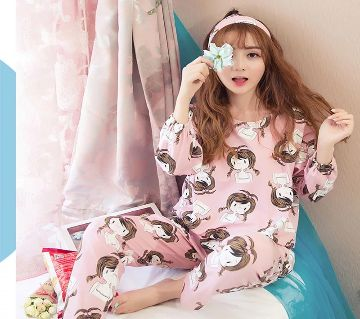 Long Sleeve Night Gown for Woman Girl face Printed with Pajamas (Type I).
