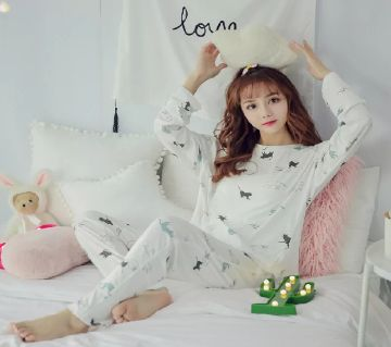 Long Sleeve Night Gown for Woman cartoon Printed walking cat with Pajamas (Type J).