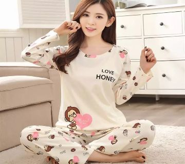 Long Sleeve Night Gown for Woman cartoon Printed Monkey with Pajamas (Type L).