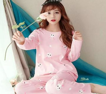 Long Sleeve Night Gown for Woman Pink Color with Pajamas (Type M).