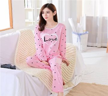 Long Sleeve Night Gown for Woman Love Pink Color with Pajamas (Type O).
